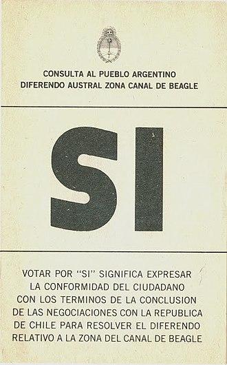 1984 Argentine Beagle conflict dispute resolution referendum - Image: Referéndum sobre el conflicto del Canal Beagle SI