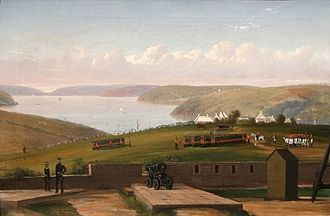Royal Monmouthshire Royal Engineers - The Royal Monmouthshire Light Infantry in 1855 at Pembroke Dock.