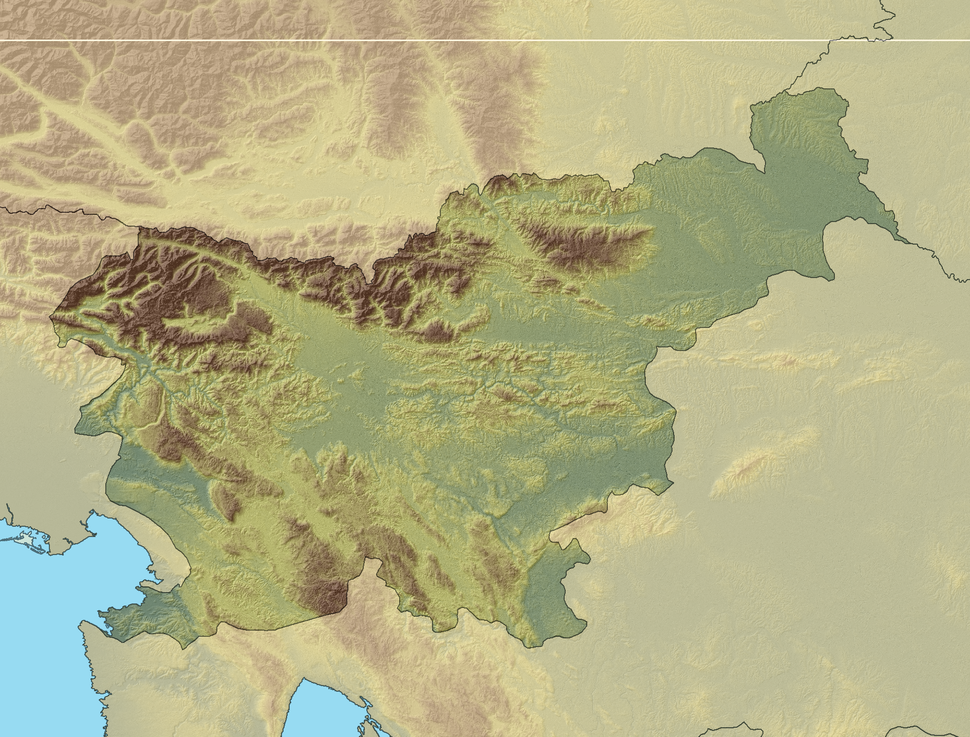 Relief map of Slovenia