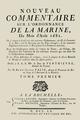 René-Josué Valin - Nouveau commentaire sur l'ordonnance de la marine du mois d'août 1681, T1, 1760, page de titre.png