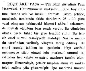 Reshid Akif Pasha - Reshid Akif Pasha's testimony published by the Grand National Assembly of Turkey in the Meclis-i Ayan Zabıt Ceridesi.
