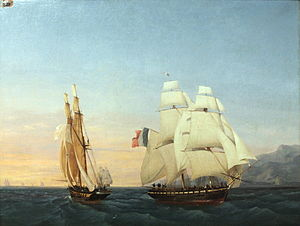Hundred Days - The brig Inconstant, under Captain Taillade and ferrying Napoleon to France, crosses the path of the brig Zéphir, under Captain Andrieux. Inconstant flies the tricolour of the Empire, while Zéphir flies the white ensign of the Monarchy.
