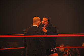 The TNA Front Line - Rhino during his feud with the Godfather of the Main Event Mafia Kurt Angle