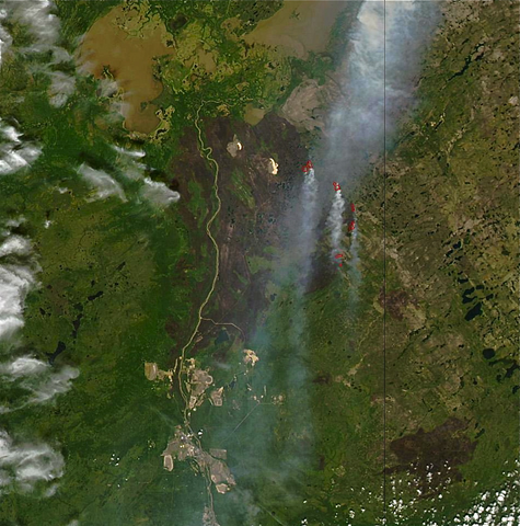 """RicardsonFireAlberta"" by Jeff Schmaltz, MODIS Rapid Response Team at NASA GSFC - https://www.nasa.gov/mission_pages/fires/main/world/20110628-canada.html. Licensed under Public domain via Wikimedia Commons - https://commons.wikimedia.org/wiki/File:RicardsonFireAlberta.png#mediaviewer/File:RicardsonFireAlberta.png"