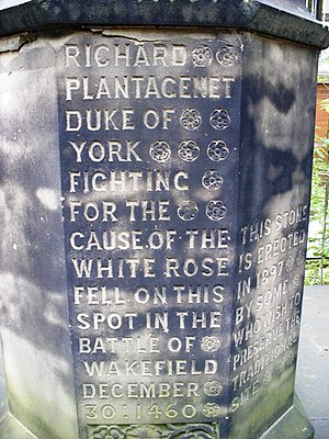 Battle of Wakefield - Monument to Richard of York