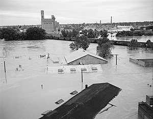 Hurricane Agnes - Buildings almost fully submerged in Richmond