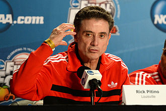 Rick Pitino - Pitino in a press conference for the 2013 Final Four