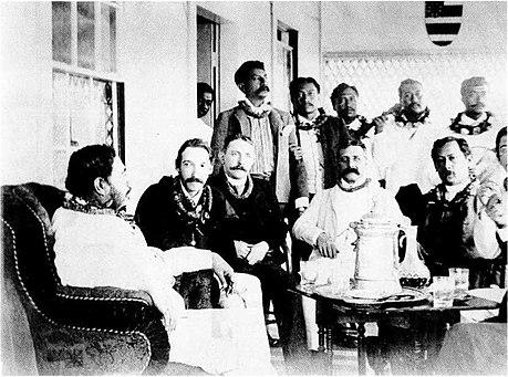 Robert Louis Stevenson and King Kalakaua and his Singing Boys