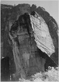 "Rock formation, from below, ""In Zion National Park,"" Utah. (Vertical orientation), 1933 - 1942 - NARA - 520020.tif"