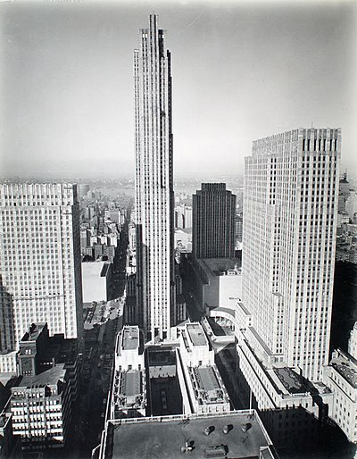 Black-and-white picture of site construction in 1937, as seen from a skyscraper to the east