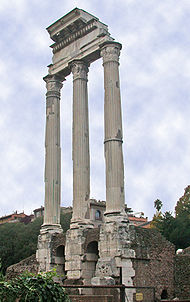 Ruins of the temple of Castor and Pollux in the Forum Romanum. Ancient resources as well as recent archeological evidence suggest that, at one point, Caligula had the palace extended to annex this structure.