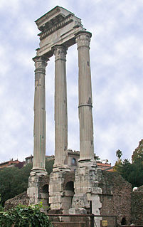 Temple of Castor and Pollux building in Roman Forum, Italy