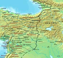 Carte du Moyen-Orient, en rouge le nom des provinces romaines