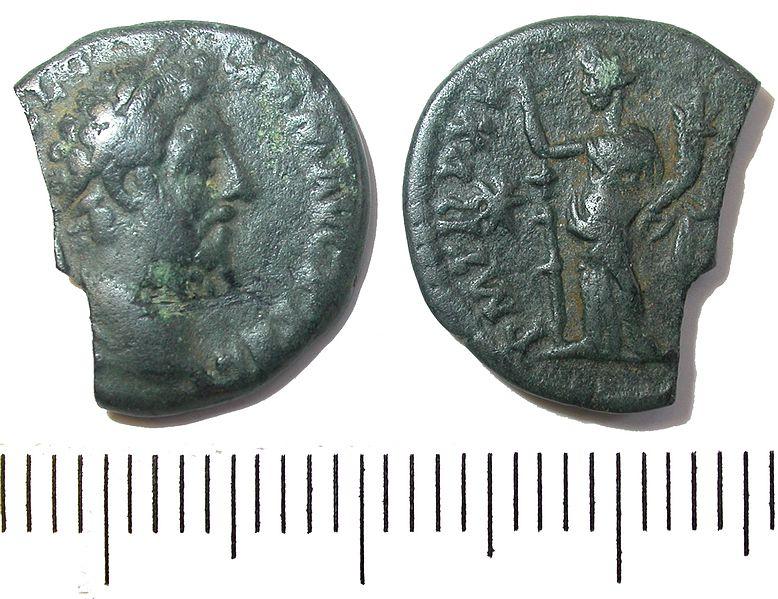 File:Roman coin; Commodus denarius, Fides reverse (FindID 427866).jpg