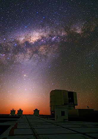Zodiacal light - Colorful center of the Milky Way and the zodiacal light above the Very Large Telescope.
