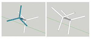 John J. Gilman - Tetrahedral support structures: left, Gilman's tetrahedral truss; right, Weaire–Phelan structure