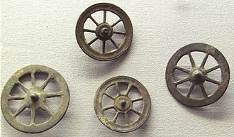 Celtic mythology - Votive Celtic wheels thought to correspond to the cult of Taranis. Thousands of such wheels have been found in sanctuaries in Gallia Belgica, dating from 50 BCE to 50 CE. National Archaeological Museum, France