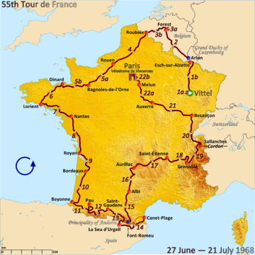Route of the 1968 Tour de France
