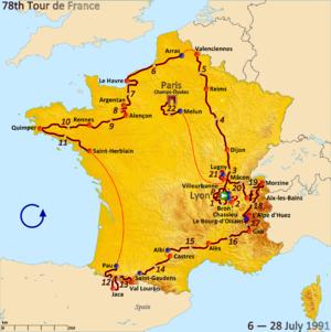 1991 Tour de France - Route of the 1991 Tour de France