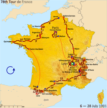 Map of France with the route of the Tour de France 1991