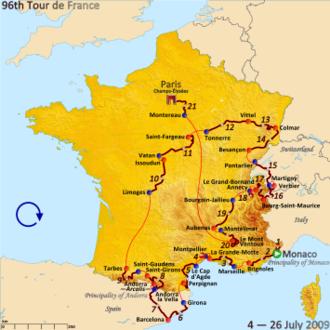 2009 Tour de France - Route of the 2009 Tour de France