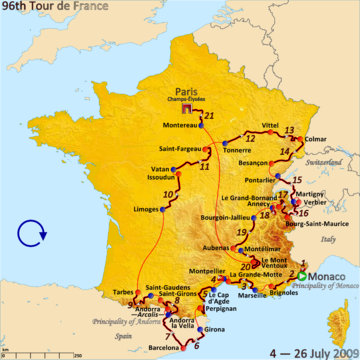 Route of the 2009 Tour de France