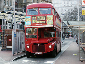 London Buses route 73 - Arriva London AEC Routemaster at Victoria bus station in March 2004