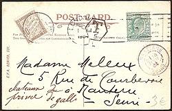 Een briefkaart met een Engelse frankering en Franse portzegel; het in ...: nl.wikipedia.org/wiki/gemengde_frankering