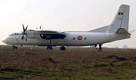 Rumanian Antonov An-24 RT on runway.jpg