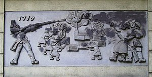 1719 in Sweden - Relief depicting the Russian atrocities during the Russian Pillage of 1719-1721, on the façade of a hotel in Södertälje.