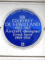 SIR GEOFFREY DE HAVILLAND 1882-1965 Aircraft designer lived here 1909-1910.jpg