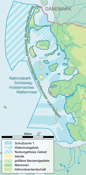 Schleswig-Holstein Wadden Sea National Park - Map of the national park with designated protected zones