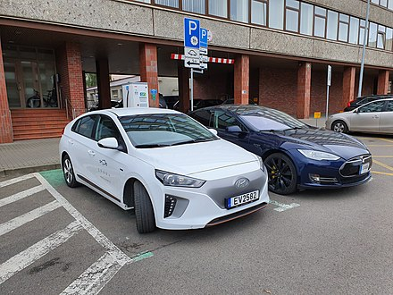 Carsharing company SPARK car and an EV charging station in Vilnius SPARK car and charging station in Vilnius.jpg