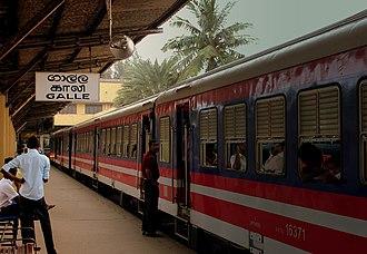 Coastal line (Sri Lanka) - A train at Galle station