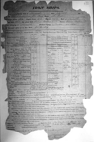 John Bowes (steamship) - Image of the Lloyd's survey certificate for the steam collier SS John Bowes, signed and dated July 1852, by Samuel Pretious, resident surveyor, Newcastle upon Tyne (front).