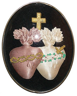 Alliance of the Hearts of Jesus and Mary - A modern devotional representation of the two hearts. Catholic devotions view the Heart of Jesus as the source of God's love and charity and the Heart of Mary as flowing with compassion.