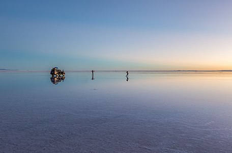 Scene in the Uyuni salt flat during sunrise, Daniel Campos Province, Potosí Department, southwesten Bolivia, not far from the crest of the Andes.