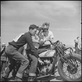 Santa Clara County, California. Motorcycle and Hill Climb Recreation. His first hill climb. The fellow on the left is... - NARA - 532252.tif