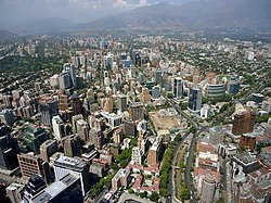 Santiago de Chile from Gran torre Santiago, Apoquindo and Tobalaba Avenues.JPG