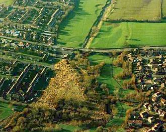 Ribble Link - 'Aerial photograph shows the meanders, previous channel and floodplain before Ribble Link construction