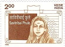 Een verborgen afbeelding van Phule op een postzegel uit 1998 van India.
