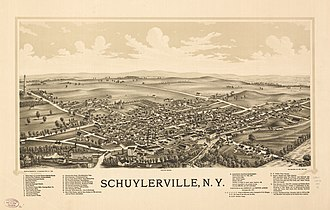 Schuylerville, New York - Lithograph of Schuylerville from 1889 by L.R. Burleigh including list of landmarks