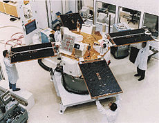 Scientists holding the solar panels of the Advanced Composition Explorer space probe.jpg