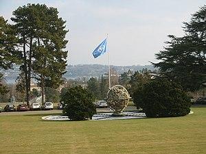 Celestial Sphere Woodrow Wilson Memorial - Image: Sculpture flag onu geneve