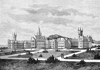 Seacliff Lunatic Asylum - The hospital in 1884, with the main buildings completed.