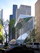 Seattle Central Library by architect Rem Koolhaas, view from 5th Ave