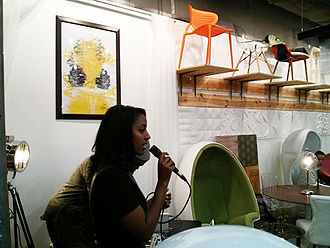 Visual Collaborative - Selam W.,  an Actress, Singer-Songwriter of Ethiopian descent, performing live at ENCORE exhibition in 2013
