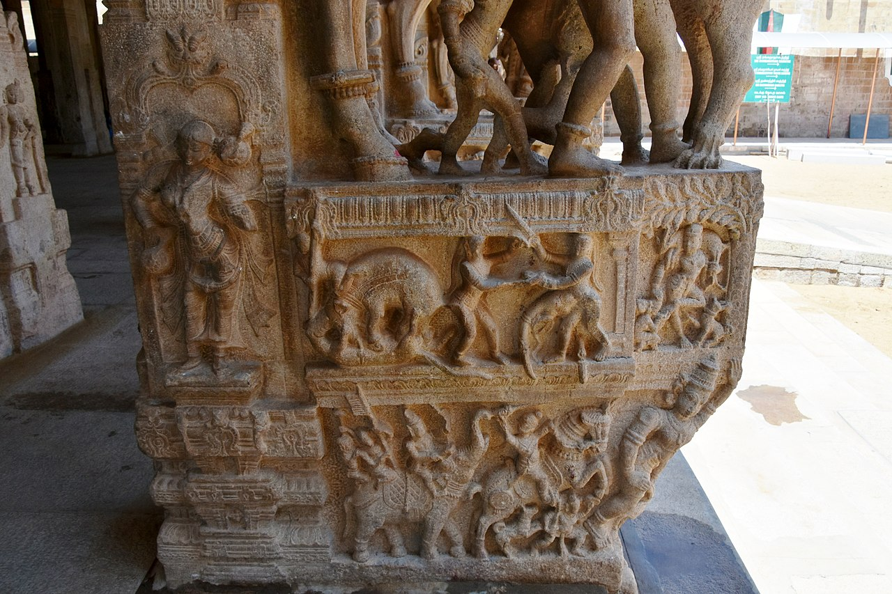 Sesha Mandapa, Vijayanagar period, 16th century, Sri Ranganathaswamy Temple, dedicated to Vishnu, in Srirangam, near Tiruchirappali (210) (37511909081).jpg