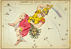 Constellation drawing of Perseus