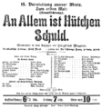 Siegfried Wagner - Playbill for the first performance of Hütchen ist an allem schuld - Stuttgart 1917.png
